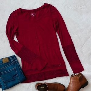 4/$25 ✨ Maurices | Maroon Lace Accent Top | Sz XS